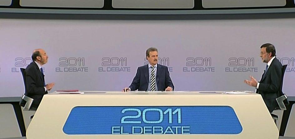Pérez Rubalcaba y Mariano Rajoy en el debate moderado por Manuel Campo Vidal