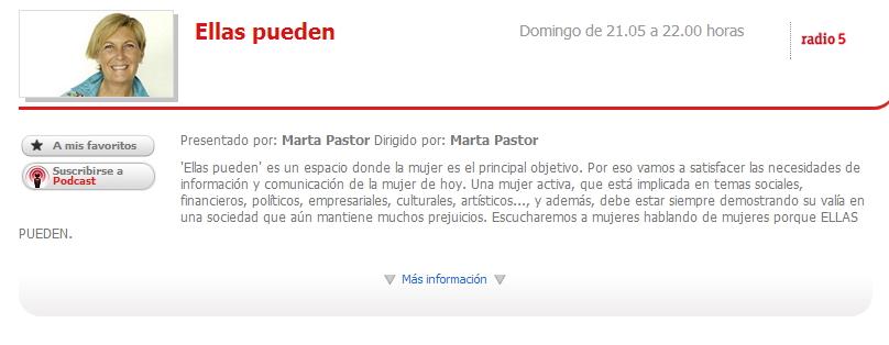 """Pantallazo del programa de RTVE """"Ellas pueden""""; presentado por Marta Pastor"""
